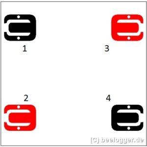 Anordnung der vier Wägezellen