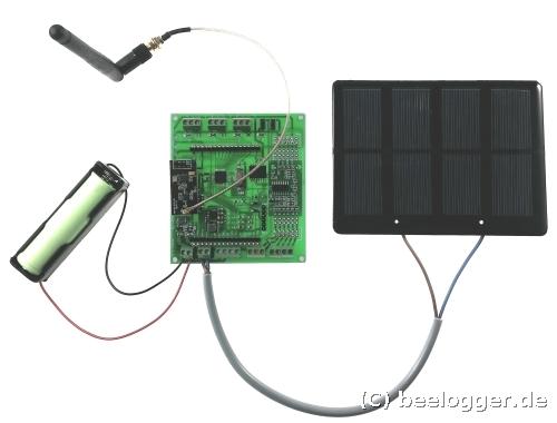 beelogger-Solar mit Solarzelle und Akku, hier im Aufbau mit nRF24L01