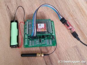 beelogger-Solar mit GSM-Shield, Akku und FTDI-Adapter