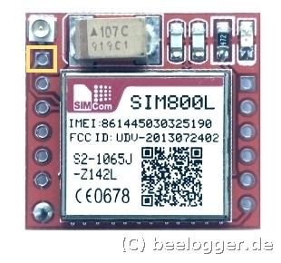 SIM800 Modul, Darstellung mit hervorgehobenem Antennenlötanschluss