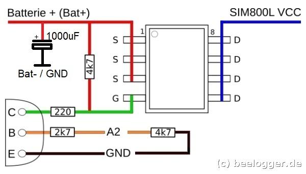 beelogger Solar GSM Schaltung