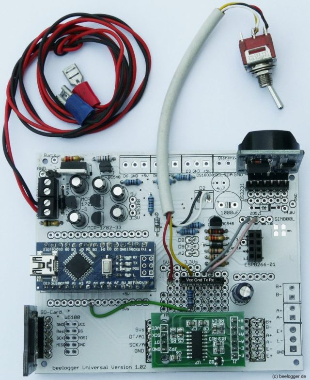 beelogger-Universal mit den Modulen HX711, DS3231, SD-Karte und Steckplatz für HC-05