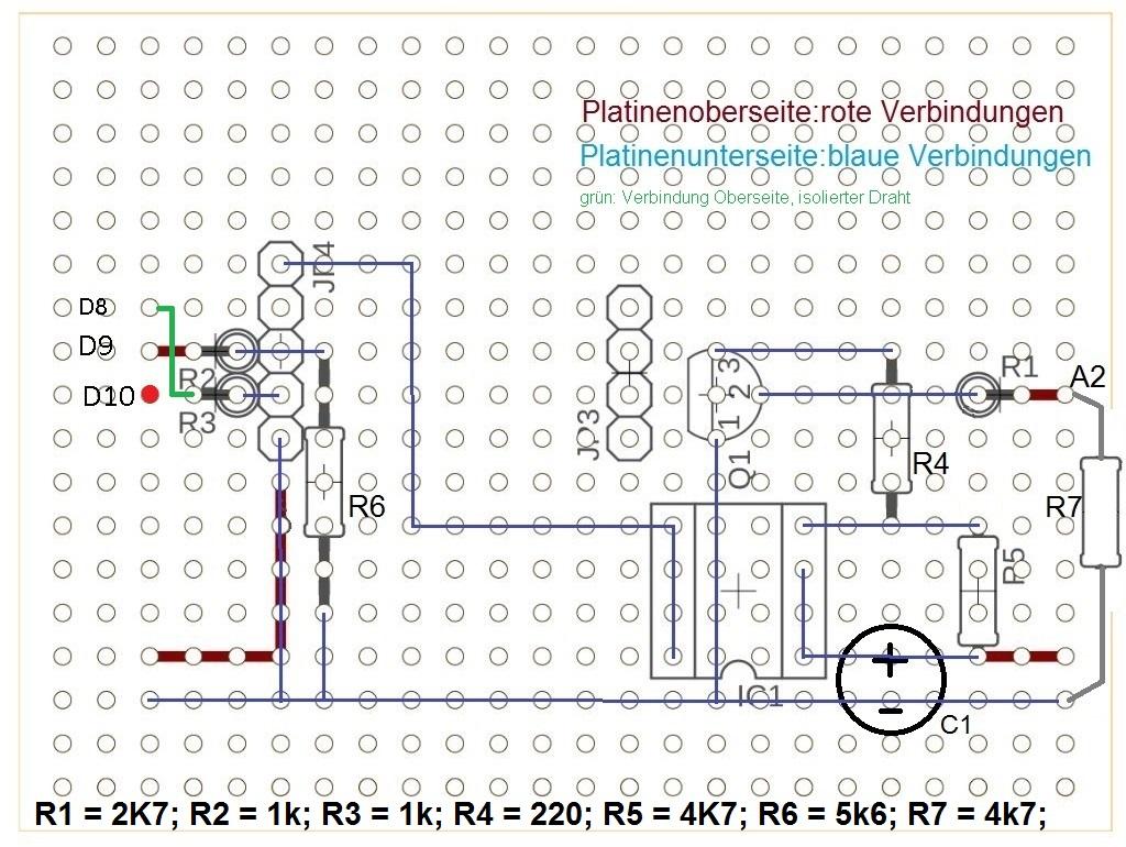 Lochrasterplatine, Draufsicht mit Plazierung der Bauelemente und Drahtverbindungen