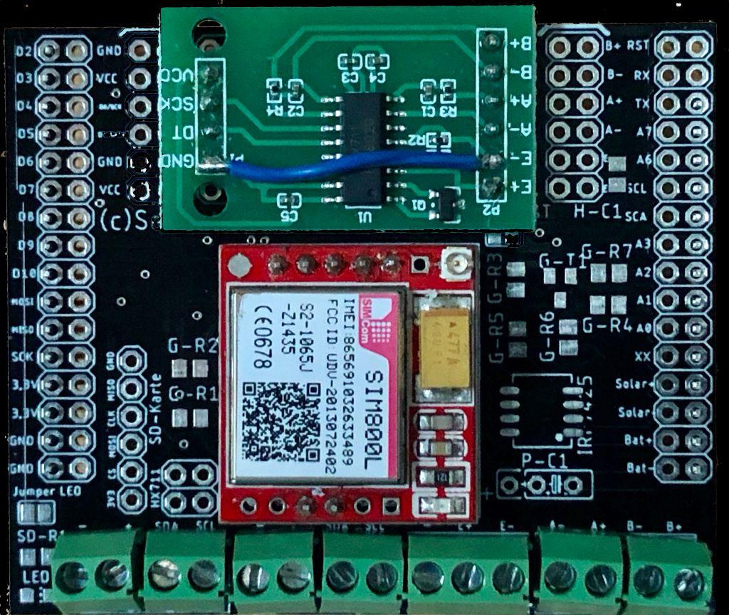 Multishield 2.5 bestückt mit SIM800L und HX711, teilweise bestückt