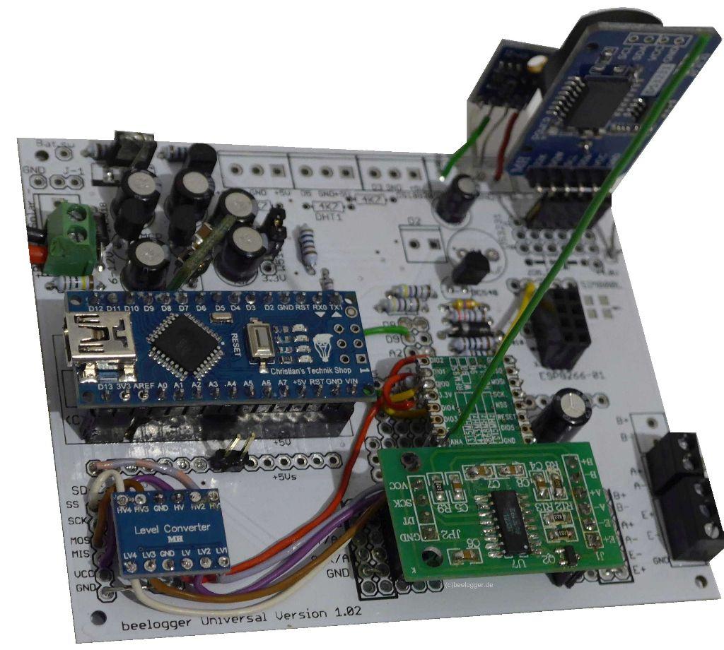 beelogger-Universal mit RFM95 und Pegelwandler Prototyoaufbau