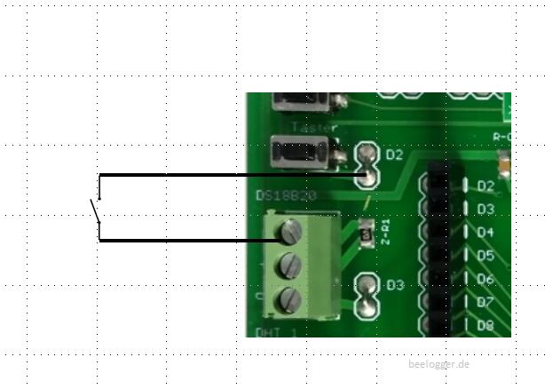 Abbildung zeigt die Verdrahtung des Schalters auf der solar platine