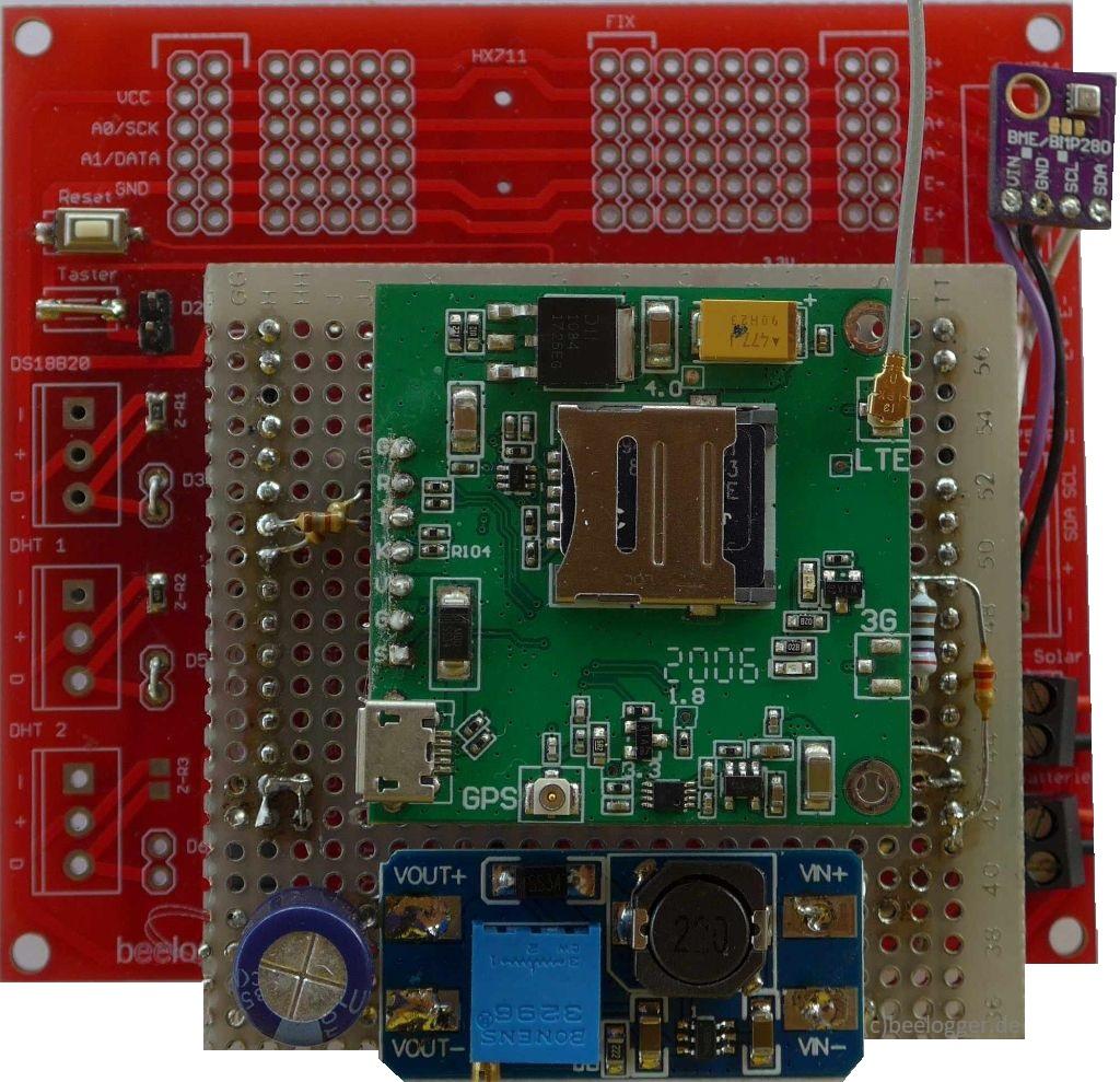 beelogger-solar mit LTE-Shield und aufgestecktem SIM7600E