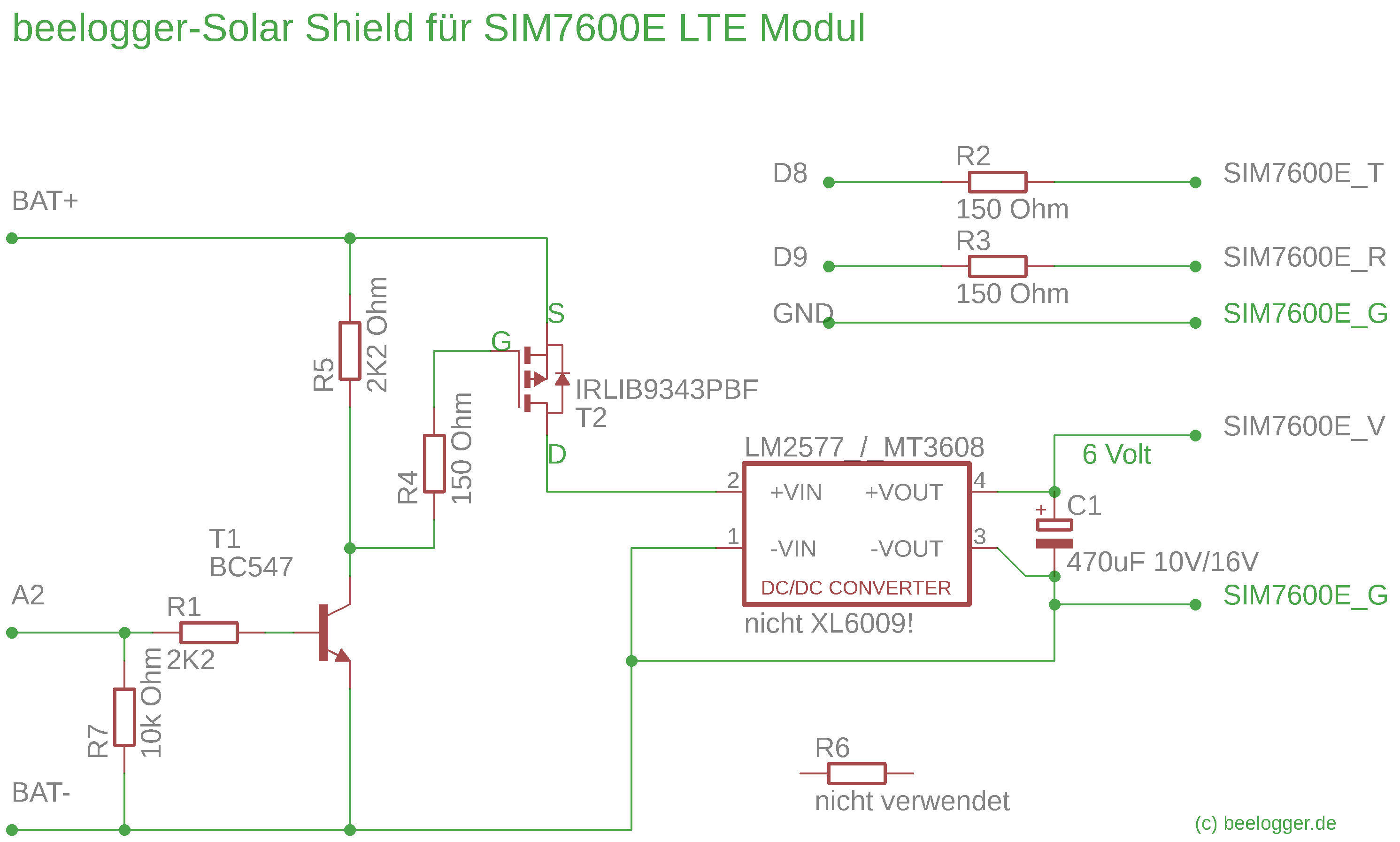 Schaltbild LTE-Shield komplett mit Step-up-Regler