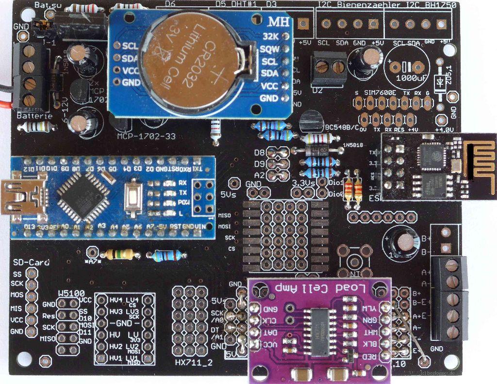 beeloggger Universal Platine erweiterter Aufbau bestückt in der Variante mit HX711, DS3231 und WLAN Modul