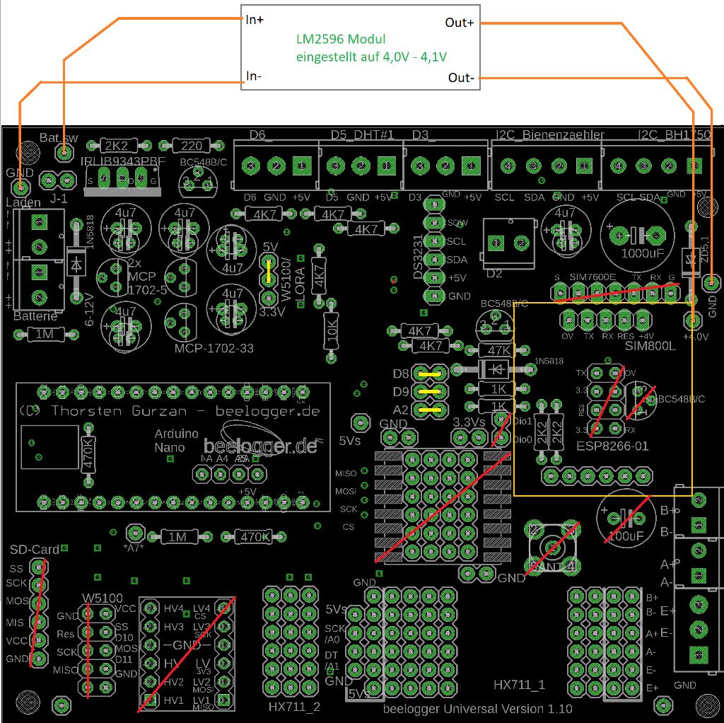 Anschaltung LM2596 Modul an Universal Platine Version 1.1x