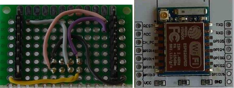 Lochrasterplatine mit Verdrahtung und ESP-07 auf Adapterplatine