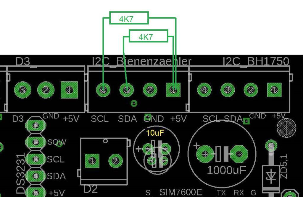 Zeichnung für die Einbauposition der 4K7 Widerstände an der Universal Platine
