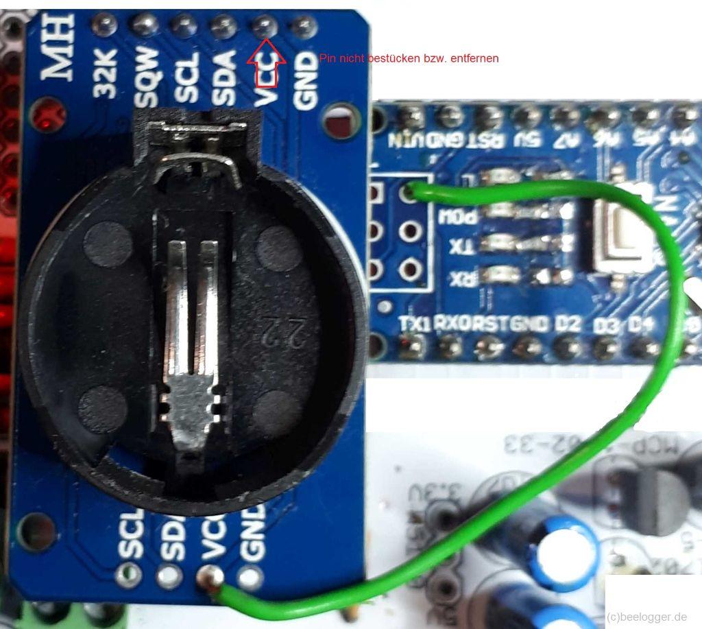 Ansicht Verdrahtung VCC für DS3231 von NANO zu VCC am DS3231-Modul